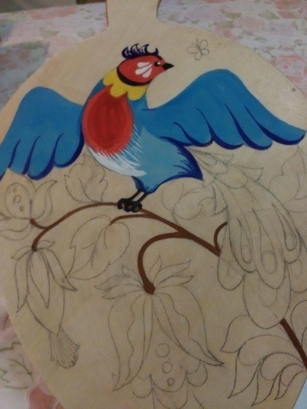 """Как сделать роспись по дереву """"Птица"""""""