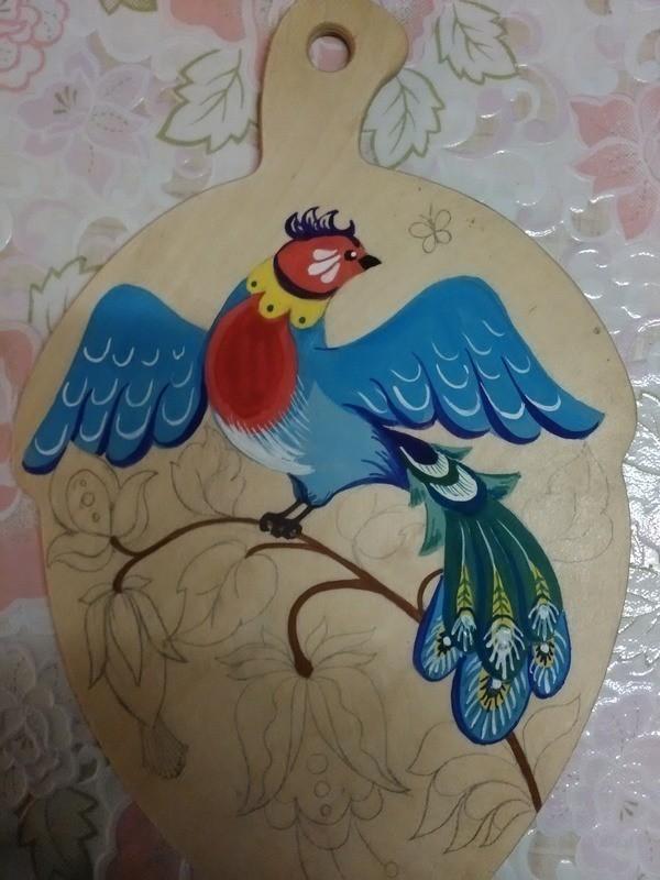 Роспись по дереву с птицами