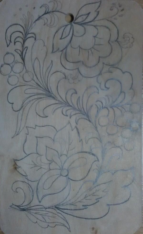 Роспись дощечки по мотивам Хохломы