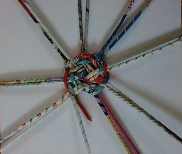 Способ плетения из газетных трубочек по кругу