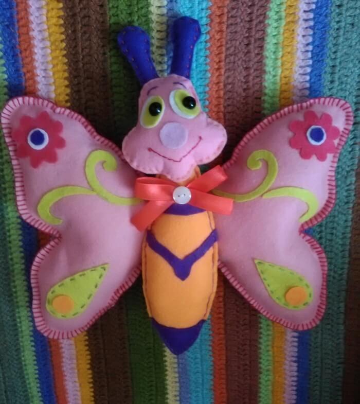 Мягкая игрушка бабочка из фетра