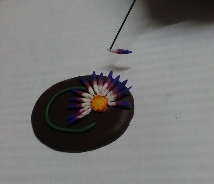 Брошь астра из  полимерной глины