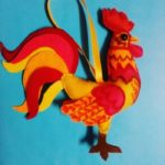 Новогодняя игрушка из фетра огненный петушок