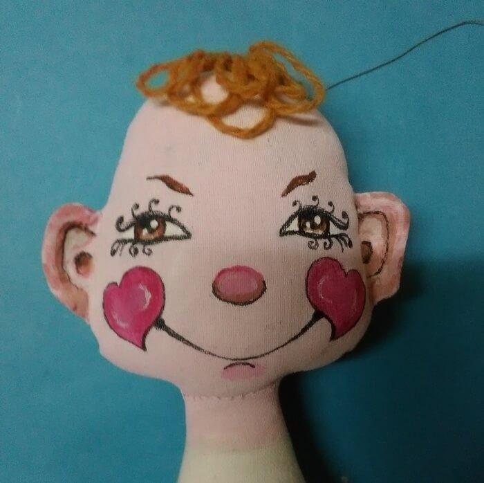Игрушка из ткани своими руками. Текстильная кукла. Волосы кукле.